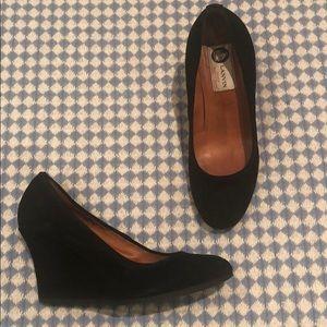 Lanvin black suede wedge heels
